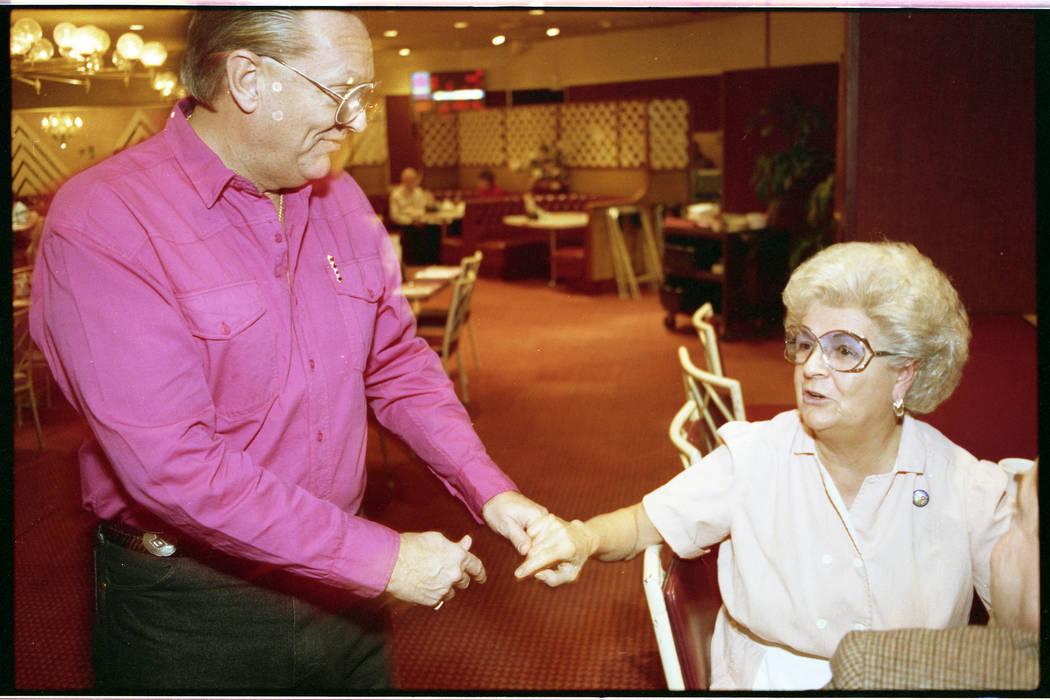 Dunes executive Richard Goeglein talks with coffee shop waitress Ramona Roman two days before t ...