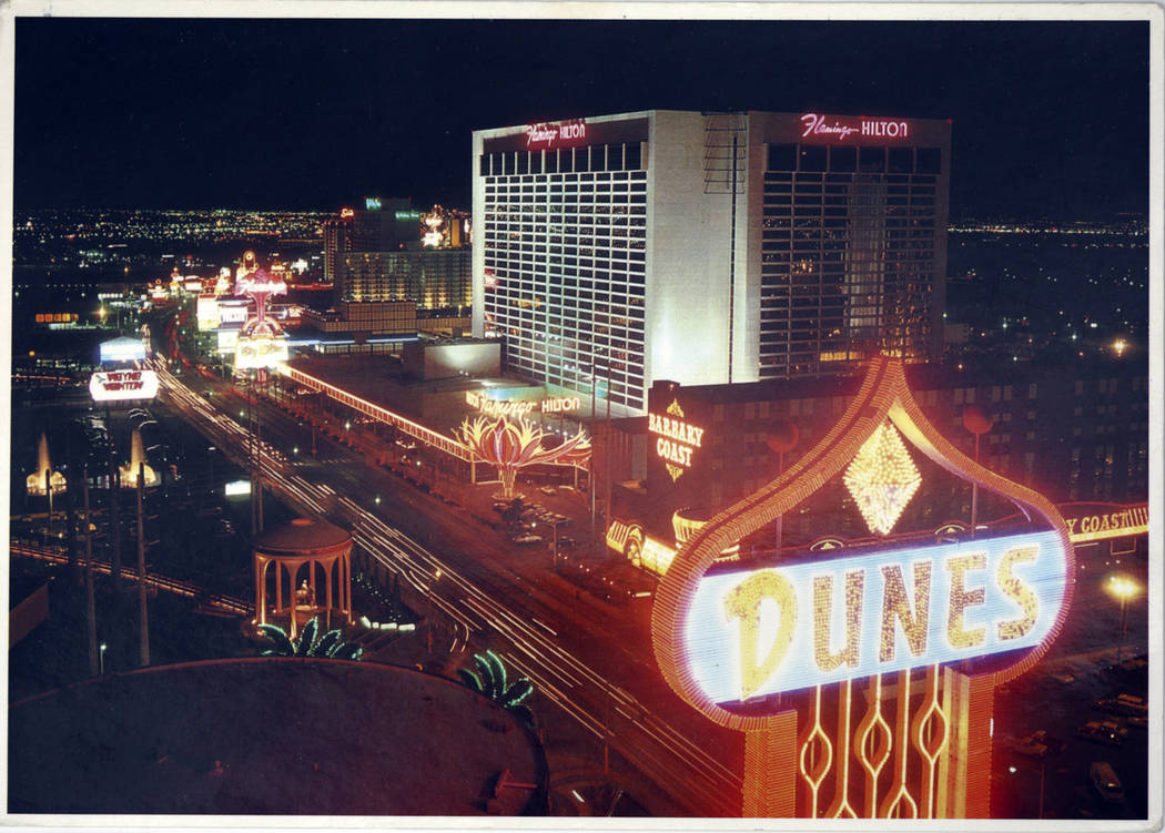 The Dunes sign appears in a historic Las Vegas postcard. (Las Vegas Review-Journal file photo)