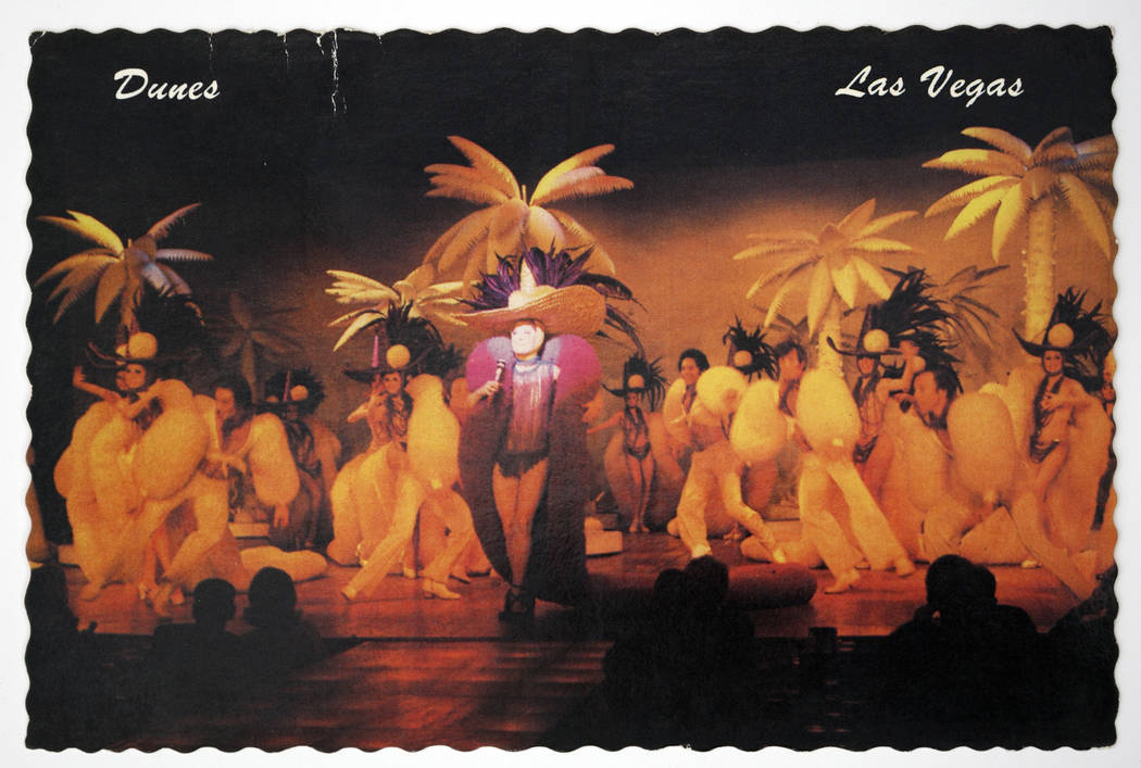 Showgirls are shown during a performance at the Dunes in a souvenir postcard. (Las Vegas Review ...