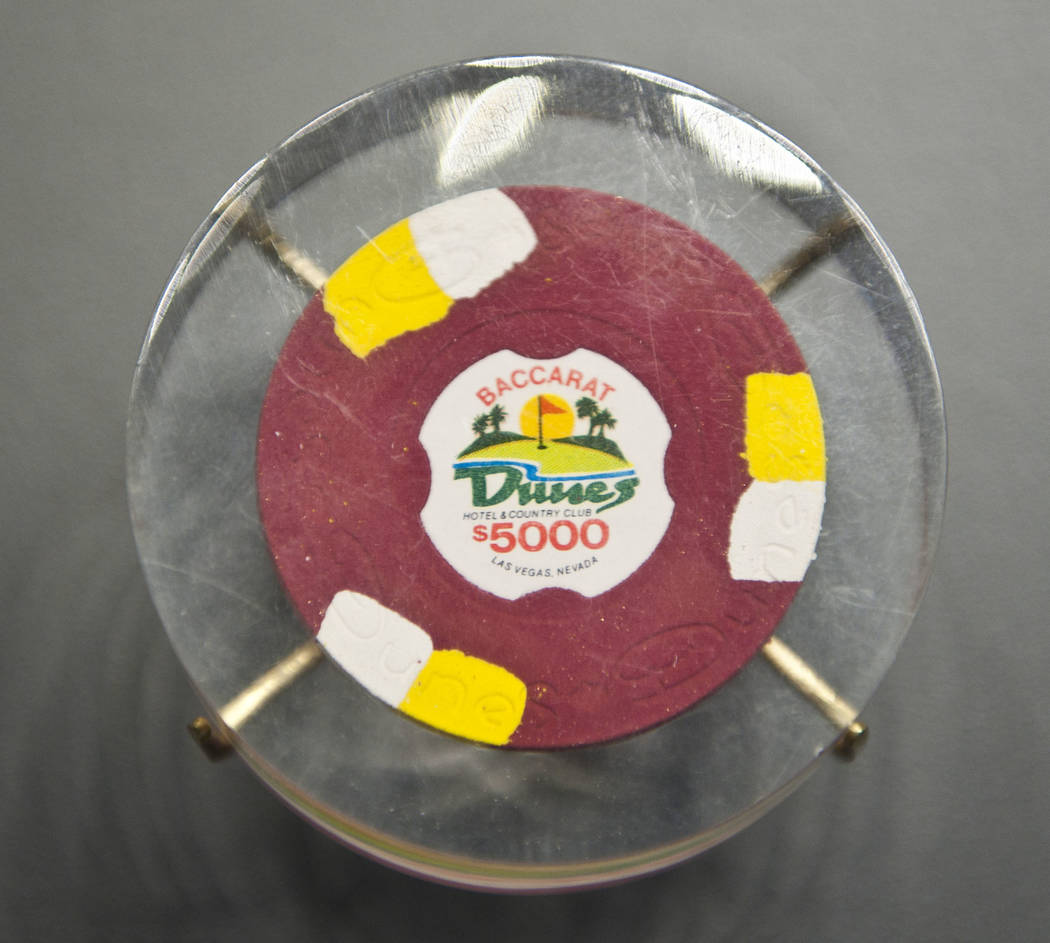 A $5,000 chip from the Dunes is displayed in 2011 at the Nevada State Museum at the Springs Pre ...