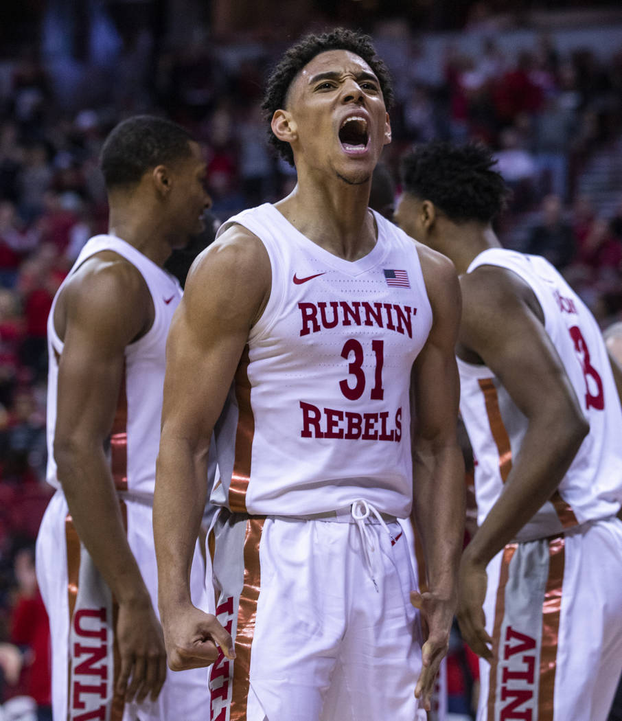 UNLV Rebels guard Marvin Coleman (31) yells out after a hard foul call on the San Diego State A ...