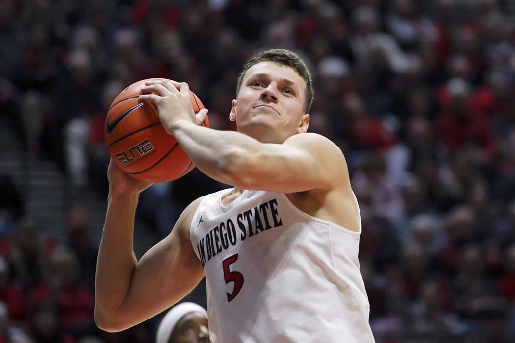 FILE - In this Jan. 11, 2020, file photo, San Diego State forward Yanni Wetzell during the seco ...