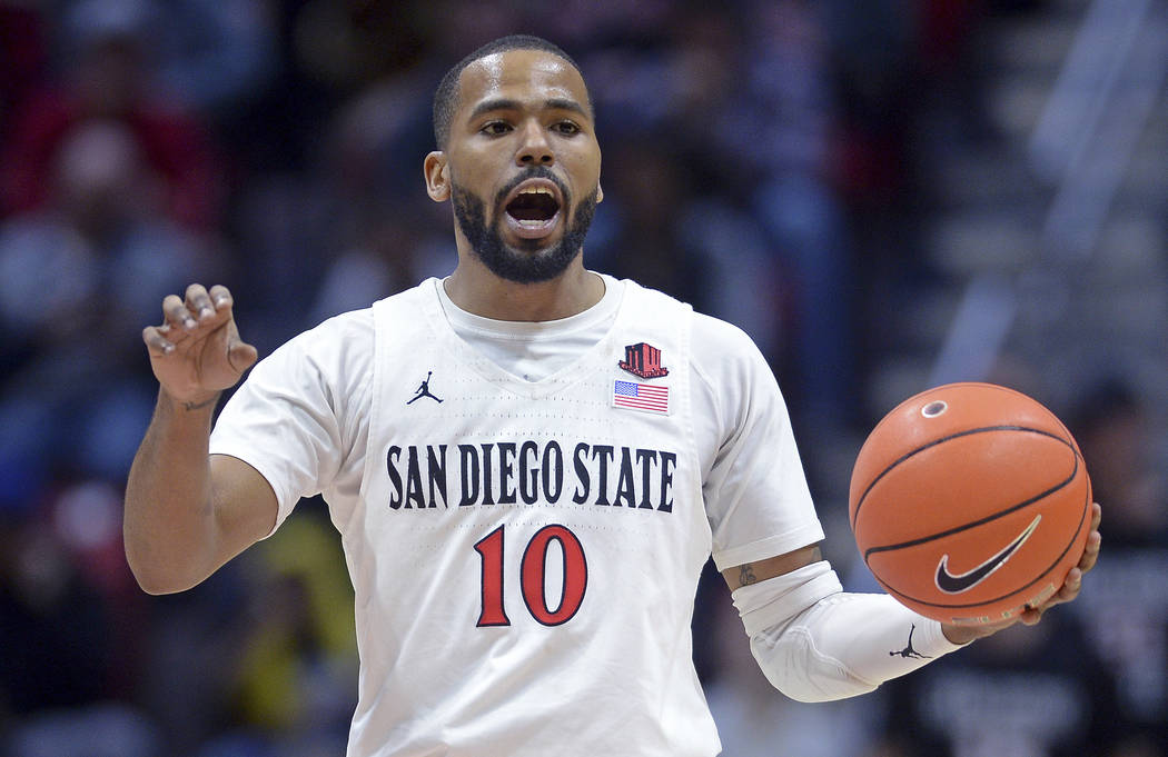 FILE - In this Dec. 28, 2019, file photo, San Diego State guard KJ Feagin gestures as he dribbl ...