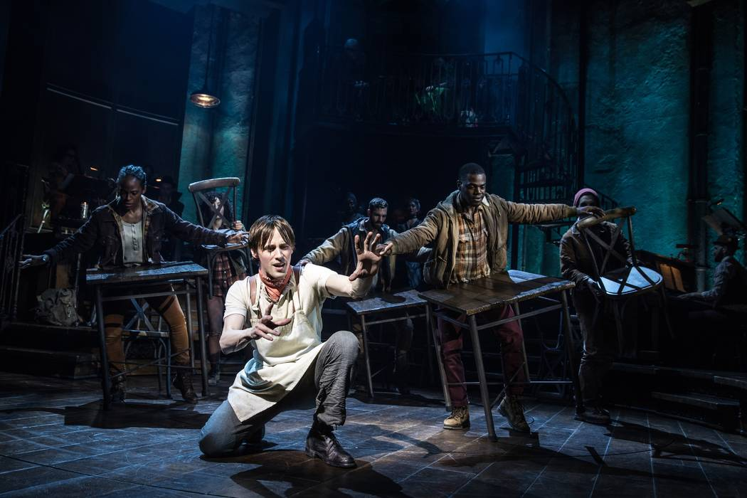 "Reeve Carney and the original Broadway cast of ""Hadestown."" (Matthew Murphy)"