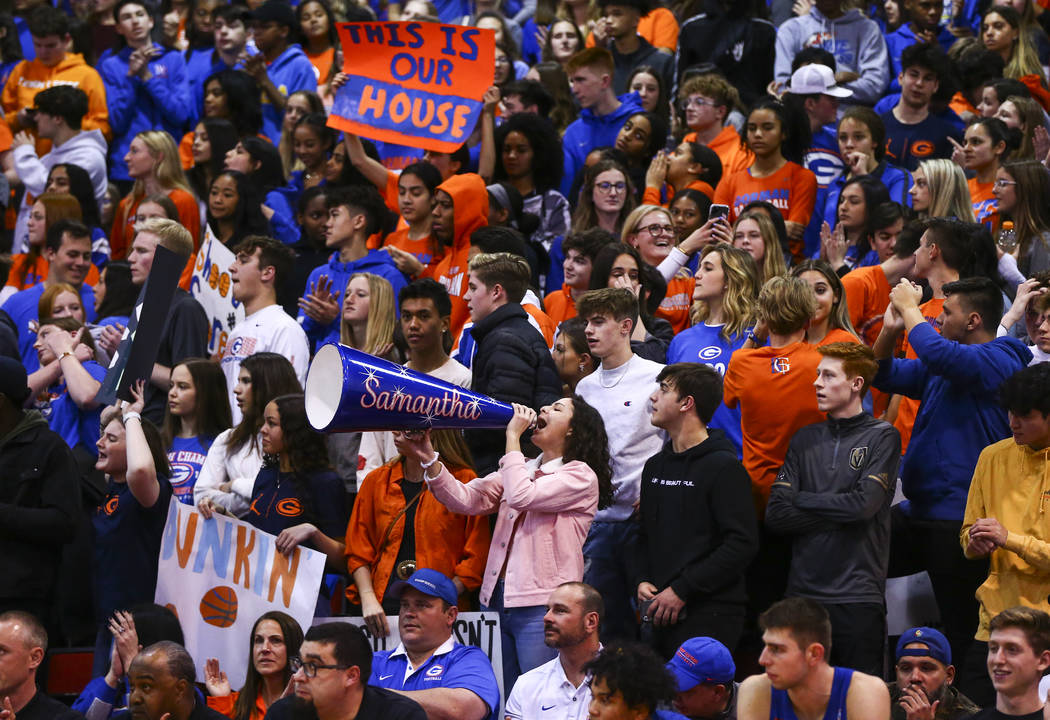 Bishop Gorman students cheer during the first half of a basketball game against Coronado at the ...