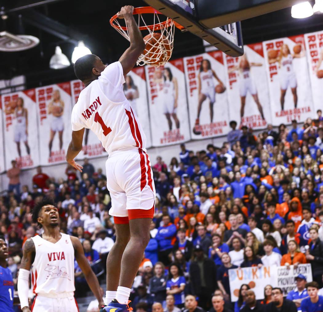 Coronado's Jaden Hardy (1) dunks against Bishop Gorman during the first half of a basketball ga ...