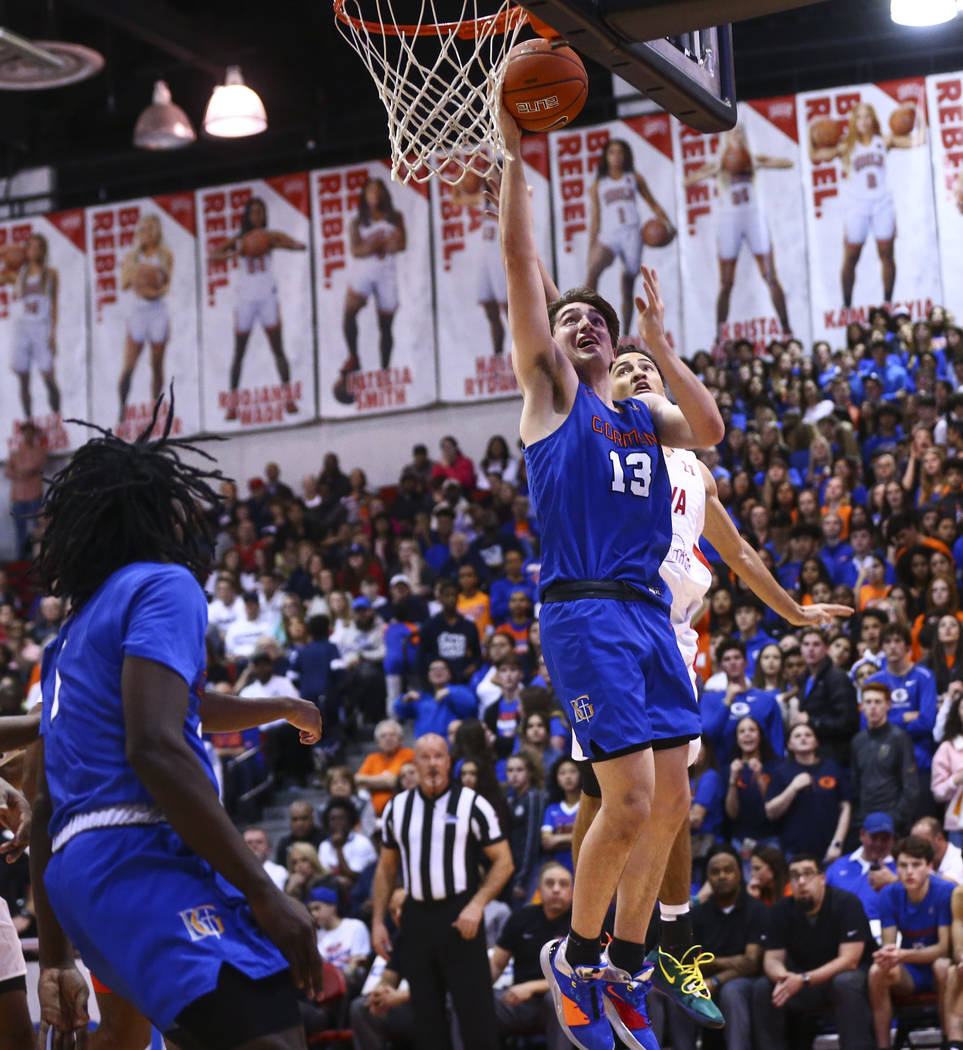 Bishop Gorman's Braden Lamar (13) shoots against Coronado during the second half of a basketbal ...