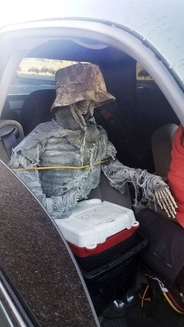 A dummy skeleton is seen after a state trooper traffic stop of a 62-year-old man for an HOV lan ...