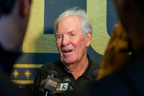 The Vegas Golden Knights owner Bill Foley talks to the media at City National Arena following a ...