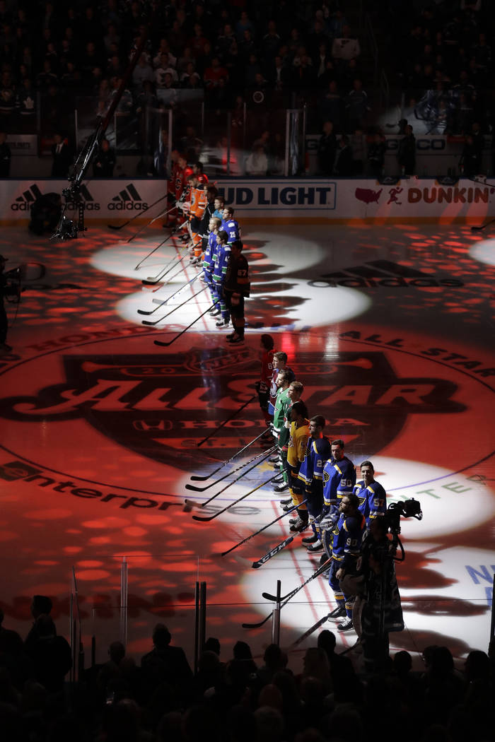 Hockey players are introduced before the Skills Competition, part of the NHL All-Star weekend, ...
