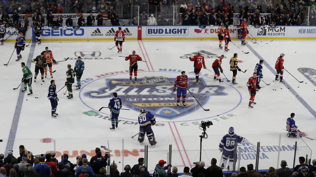 Players warm up before the Skills Competition, part of the NHL All-Star weekend, Friday, Jan. 2 ...