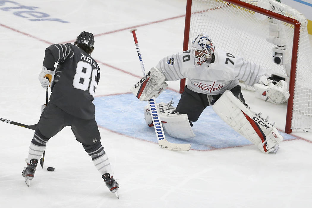 Boston Bruins forward David Pastrnak (88) scores a goal against Washington Capitals goalie Brad ...