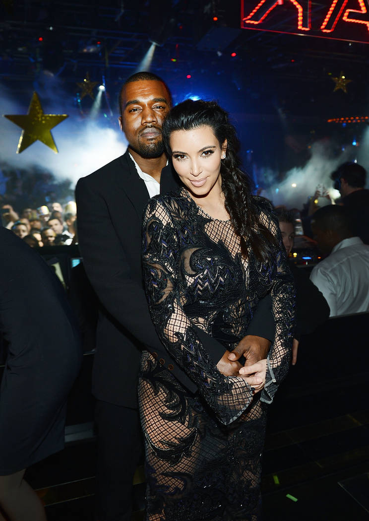 Kanye West and Kim Kardashian West celebrate New Year's Eve at 1 OAK at The Mirage on Dec. 31, ...
