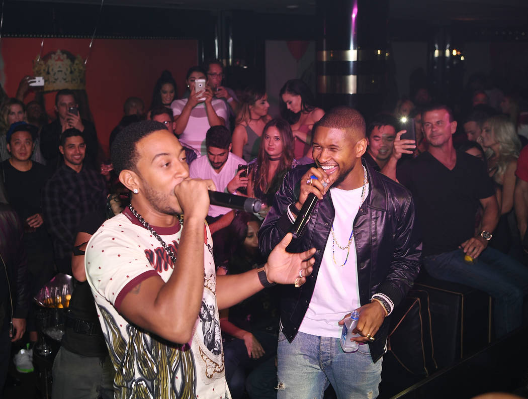 Ludacris and Usher attend Usher's official album release party at 1 OAK at The Mirage on Sept. ...