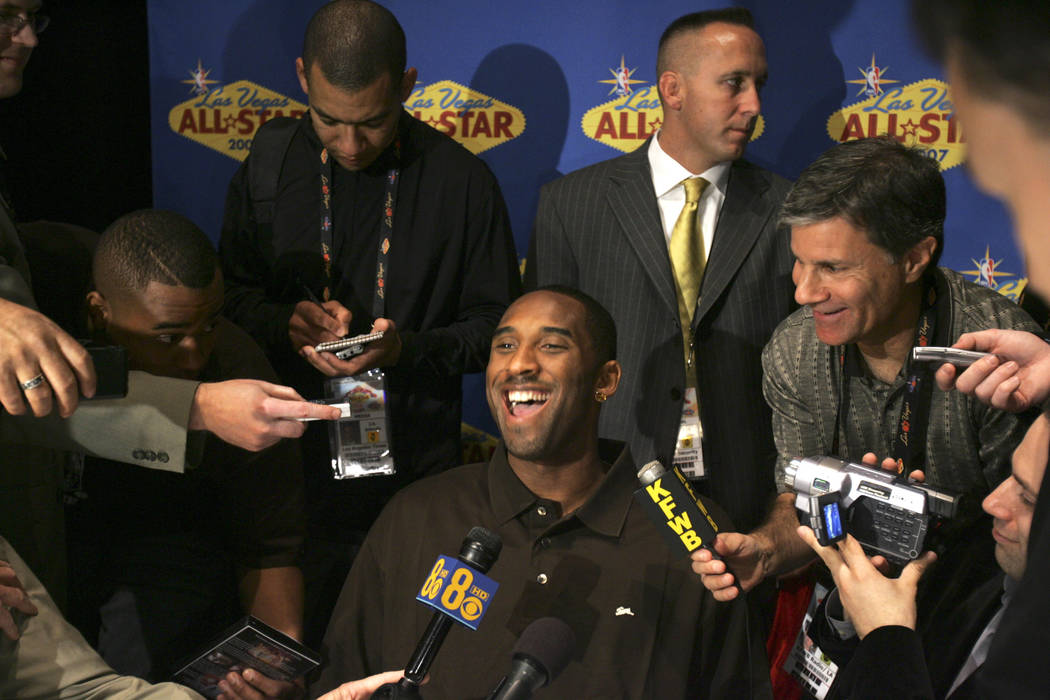 Kobe Bryant during media interviews Friday, February 16, 200, at the Palms when NBA All-Star We ...