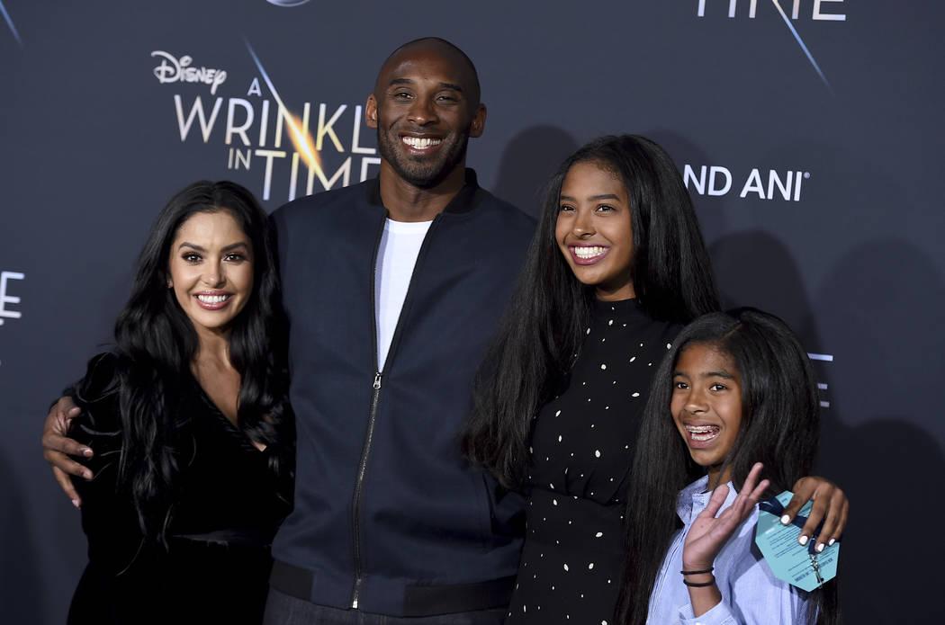 This Feb. 26, 2018 file photo shows Vanessa Bryant, from left, Kobe Bryant, Natalia Bryant and ...