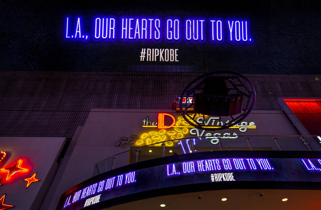 The D Las Vegas and Fremont Street Experience offer sympathy to L.A. with a memorial to Kobe Br ...