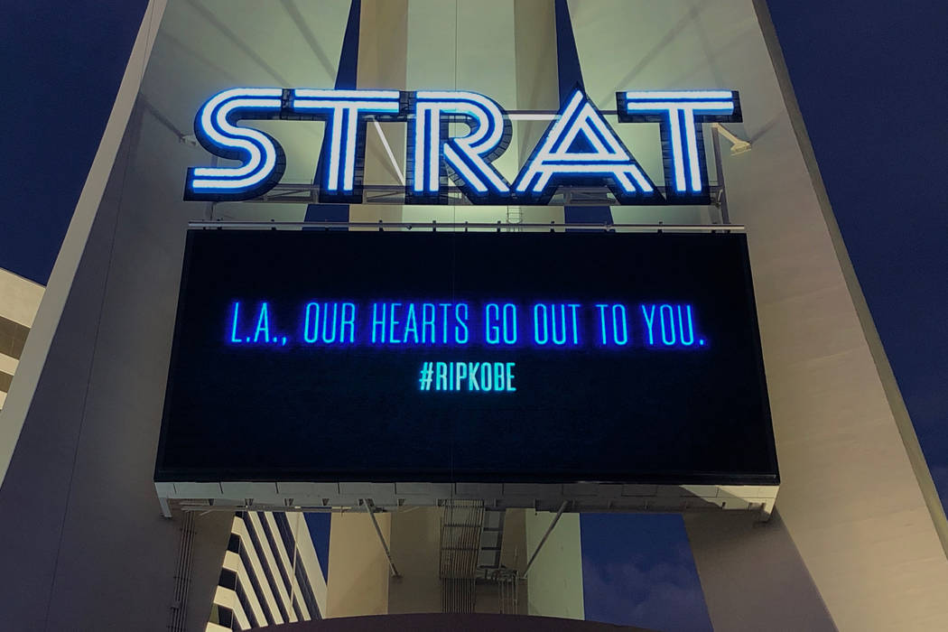 """The Strat posts a message that reads, """"L.A., OUR HEARTS GO OUT TO YOU."""" with a #R ..."""
