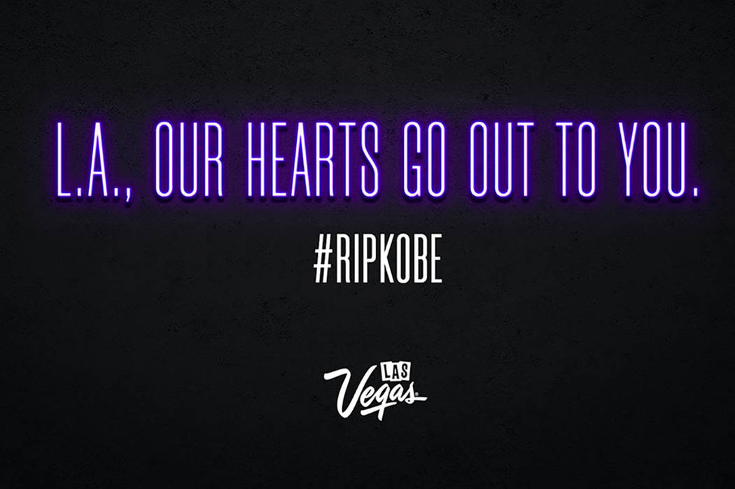 Las Vegas cancels new slogan launch on Strip after Kobe Bryant's death