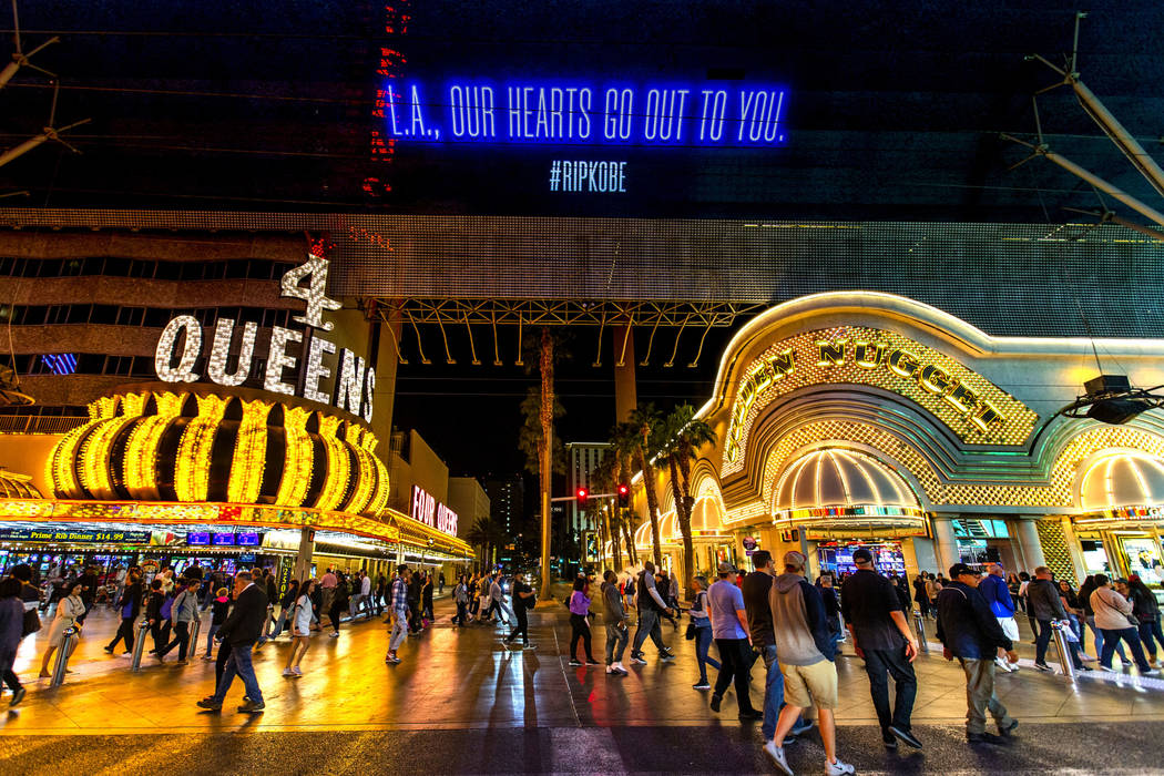 The Fremont Street Experience offers sympathy to L.A. with a memorial to Kobe Bryant following ...