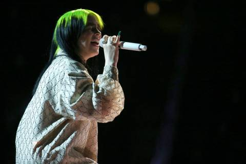 "Billie Eilish performs ""When the Party is Over"" at the 62nd annual Grammy Awards on S ..."