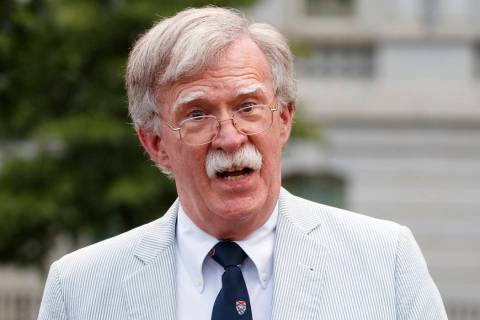 In a July 31, 2019 file photo, then National security adviser John Bolton speaks to media at th ...