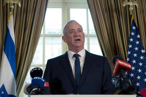 Israel Blue and White party leader Benny Gantz speaks during a news conference in Washington, M ...