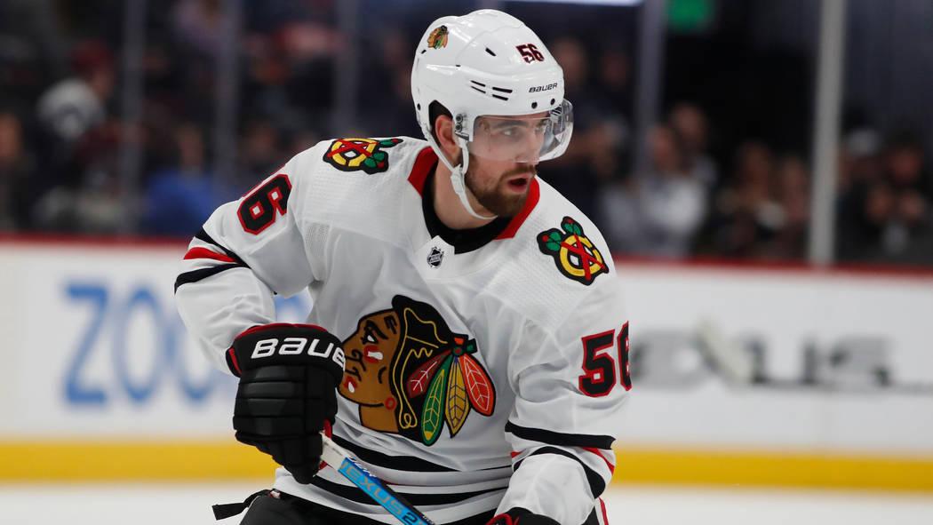 Chicago Blackhawks defenseman Erik Gustafsson (56) in the second period of an NHL hockey game S ...