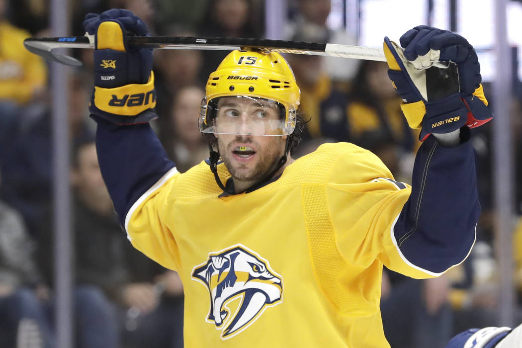 Nashville Predators right wing Craig Smith reacts to a missed scoring chance against the Toront ...