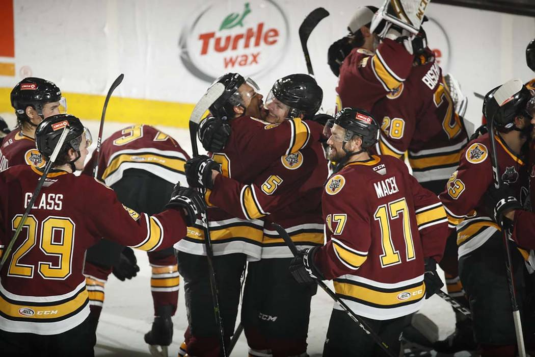 Chicago Wolves players celebrate after defeating the San Diego Gulls on May 27. (Chicago Wolves)
