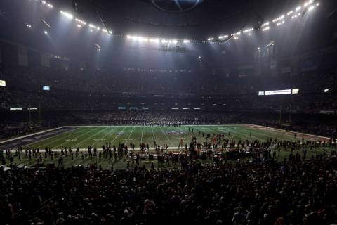 FILE - In this Feb. 3, 2013, file photo, the Superdome is seen after the lights went out during ...
