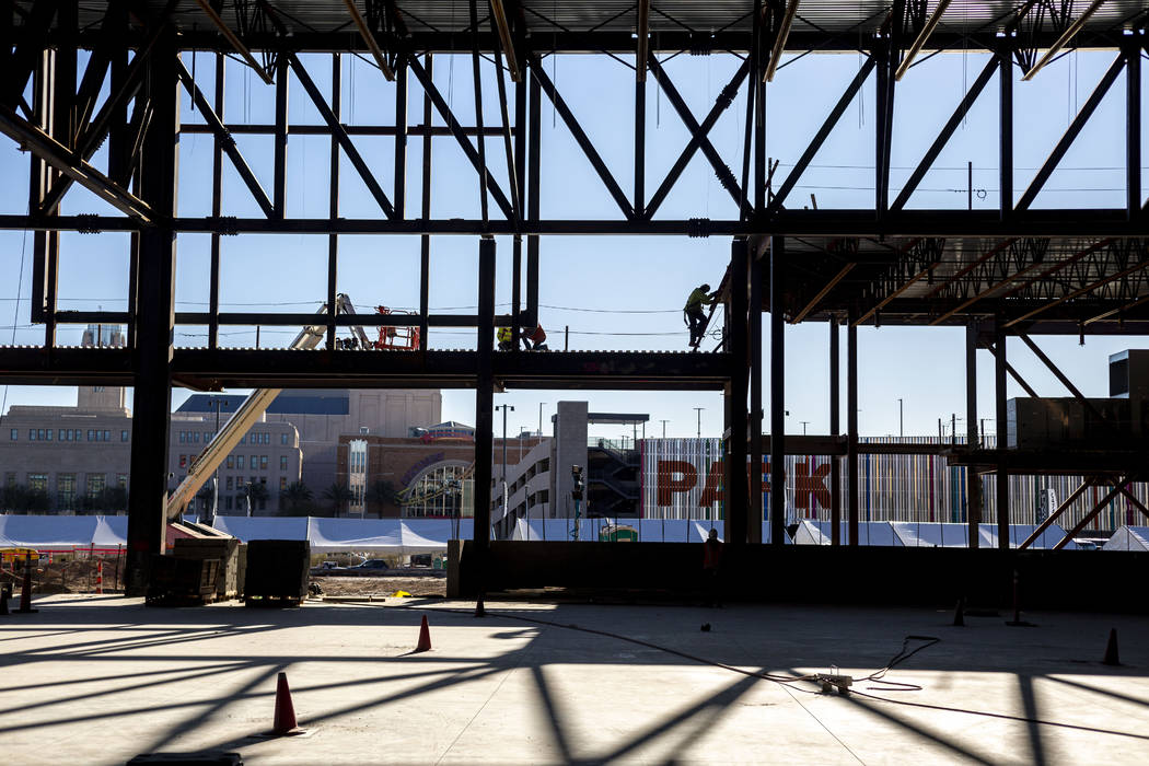 Construction is underway on the Expo at World Market Center in Las Vegas on Monday, Jan. 27, 20 ...