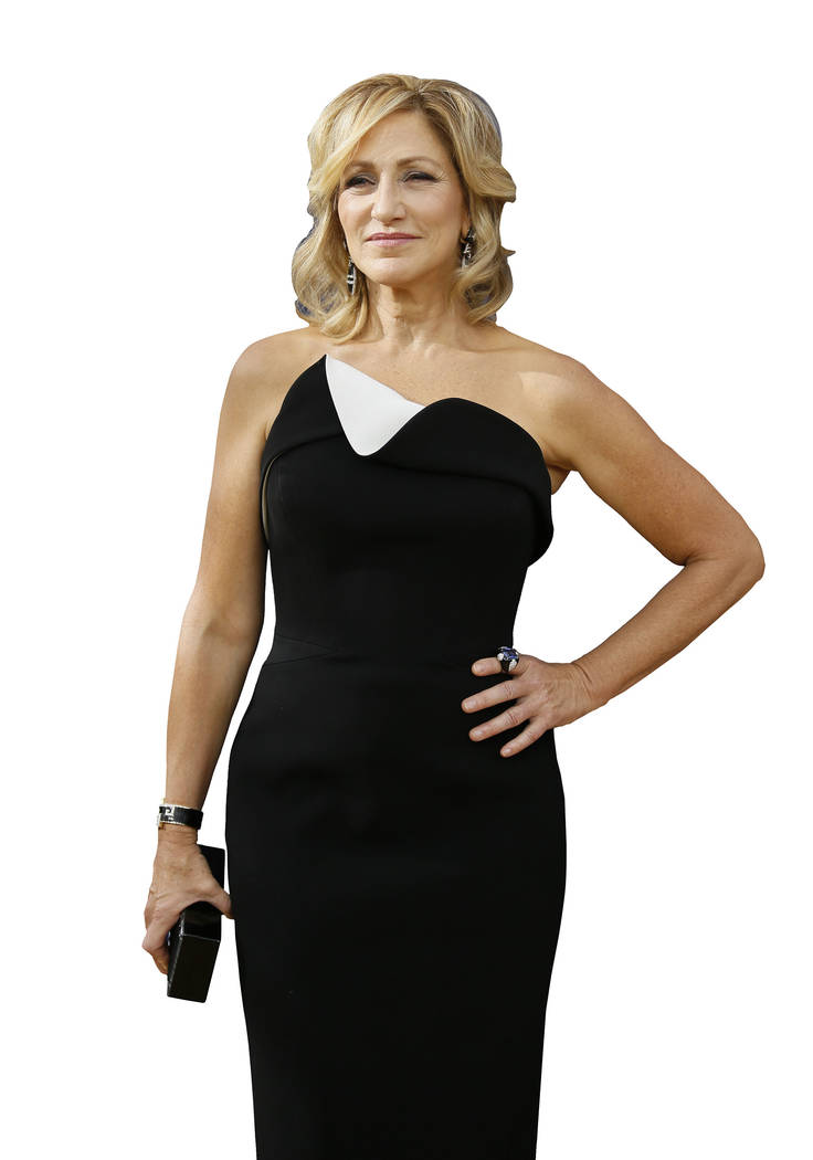Edie Falco arrives at the 70th Primetime Emmy Awards on Monday, Sept. 17, 2018, at the Microsof ...
