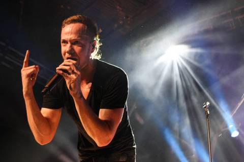 Imagine Dragons frontman Dan Reynolds performs with the band at The Joint at the Hard Rock Hote ...