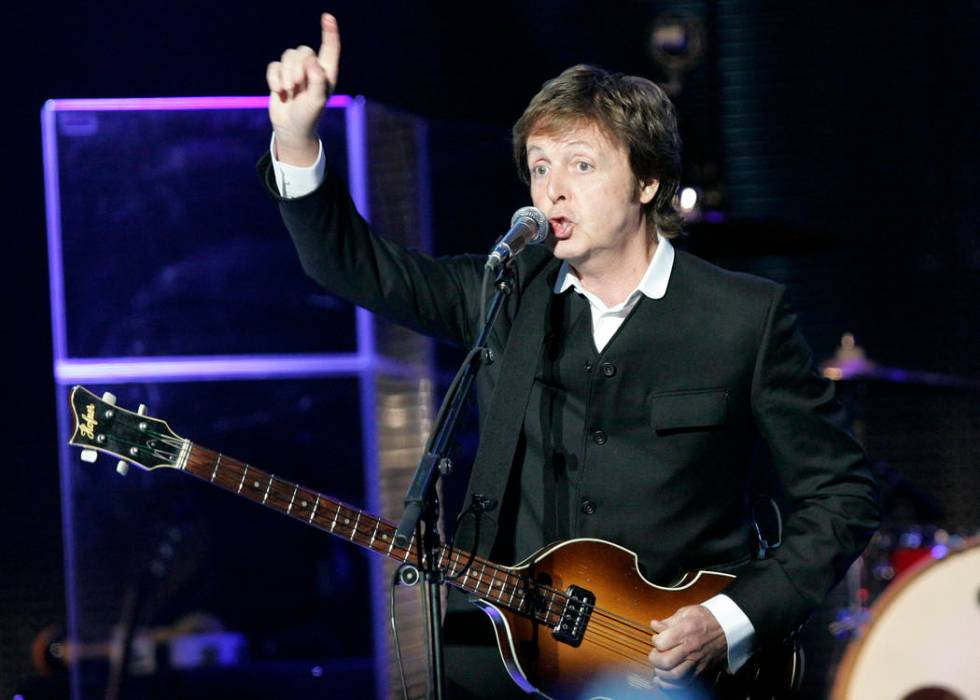 Legendary rocker Paul McCartney performs at the newly refurbished The Joint concert venue insid ...