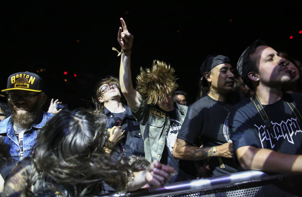 Fans headbang as Pentagram performs during the Psycho Las Vegas music festival at the Hard Rock ...
