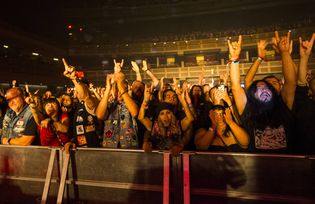 Fans cheer as Monolord performs at The Joint during Psycho Las Vegas at the Hard Rock Hotel in ...