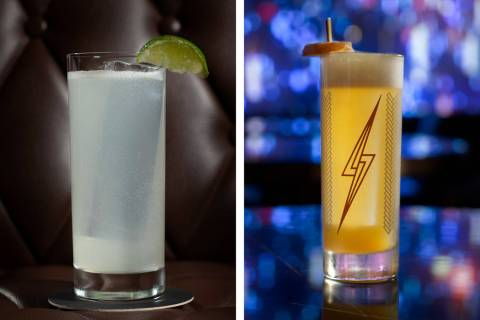 The Kansas City Ice Water, left, and Cable Car cocktails are available during Super Bowl Week a ...