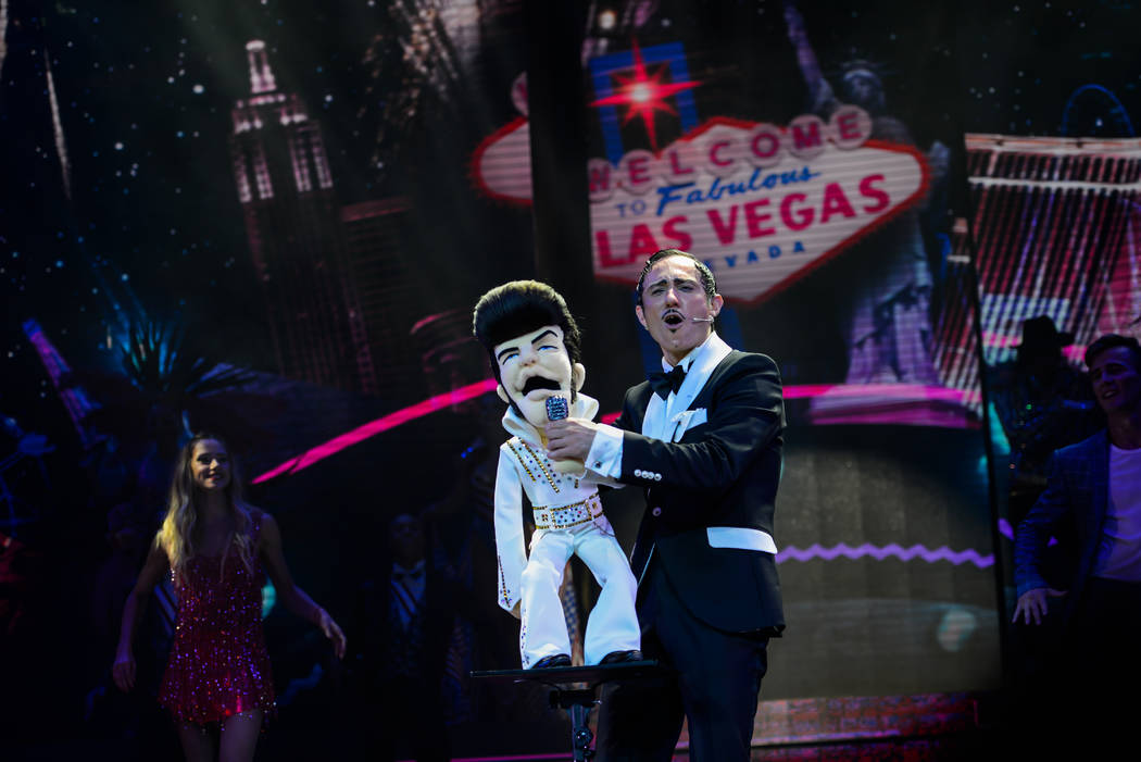 """Ventriloquist scene from """"Extravaganza -- The Las Vegas Spectacular,"""" which opens at Jubilee Th ..."""