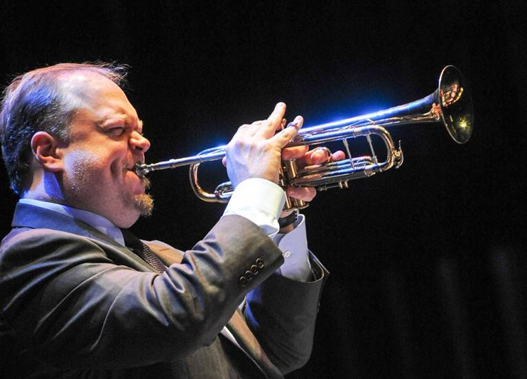Trumpet great and Las Vegas native Kenny Rampton is performing with musicians in the UNLV Jazz ...
