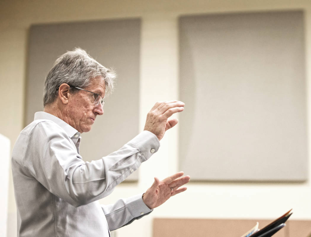 Dave Loeb, director of UNLV's jazz studies program, leads rehearsal for the UNLV Jazz En ...