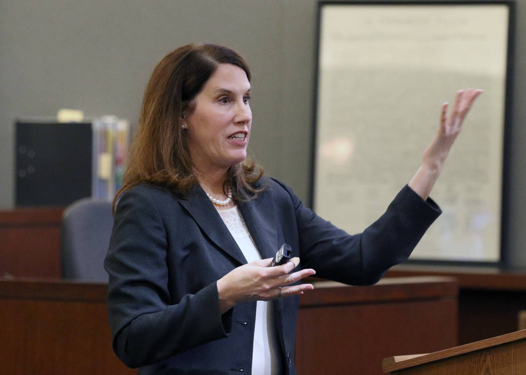 Chief Deputy District Attorney Pamela Weckerly delivers her closing statement to the jury durin ...