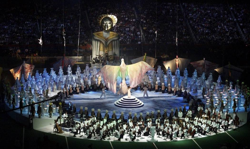 A general view of performers on stage during the halftime show at Super Bowl XXXIV in the Georg ...