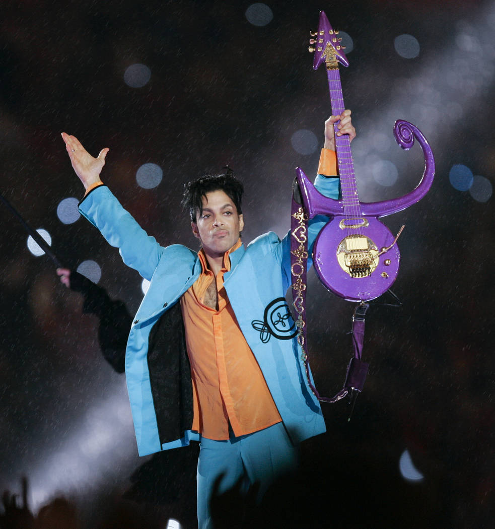 FILE - In this Feb. 4, 2007 file photo, Prince performs during halftime of the Super Bowl XLI f ...