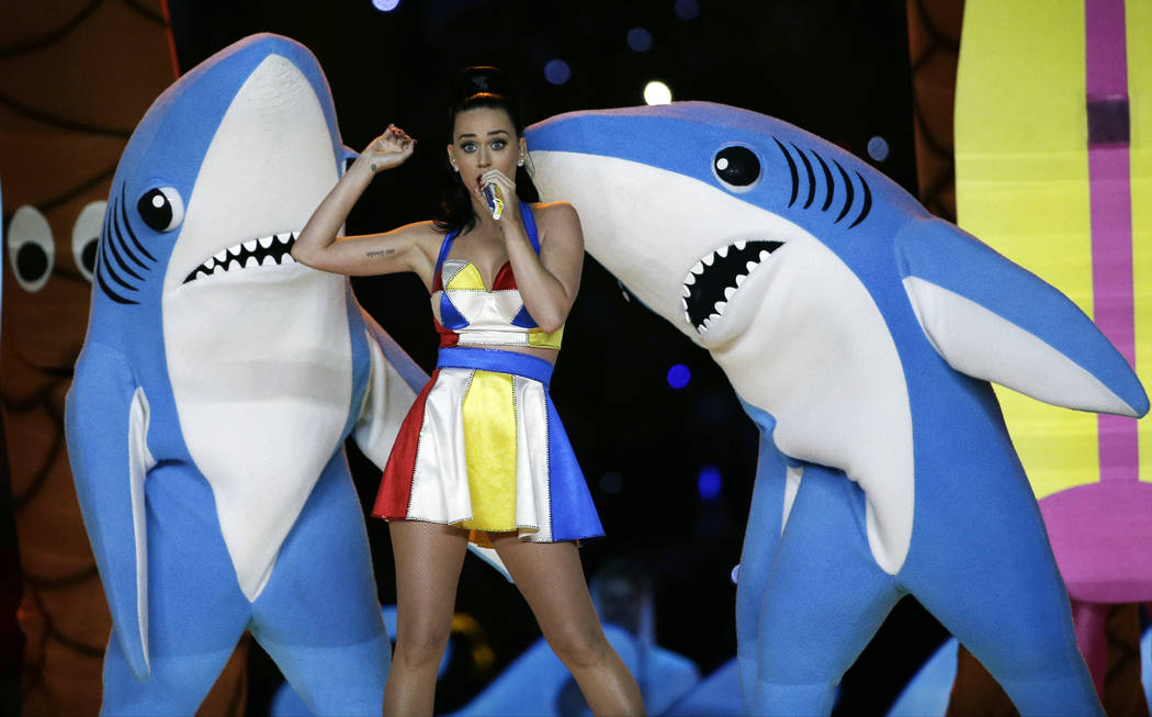 FILE - In this Feb. 1, 2015, file photo, singer Katy Perry performs during halftime of the NFL ...
