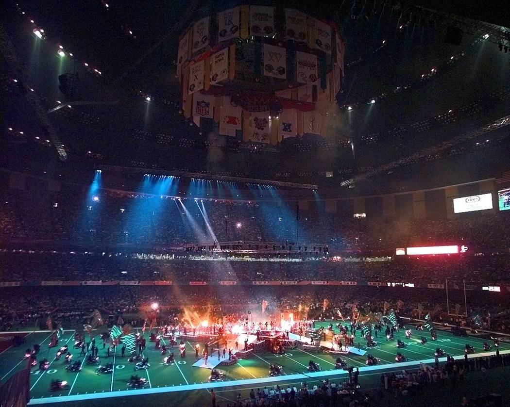 The Superdome is awash in colors during halftime of Super Bowl XXXI Sunday, Jan. 26, 1997, in N ...