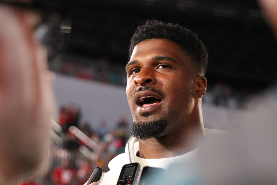 San Francisco 49ers defensive end Dee Ford speaks to media during Super Bowl LIV Opening Night ...