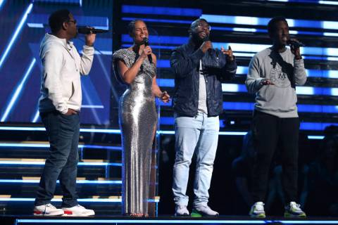 Nathan Morris, from left, Wanya Morris, Shawn Stockman, of Boyz II Men‎, and Alicia Keys ...