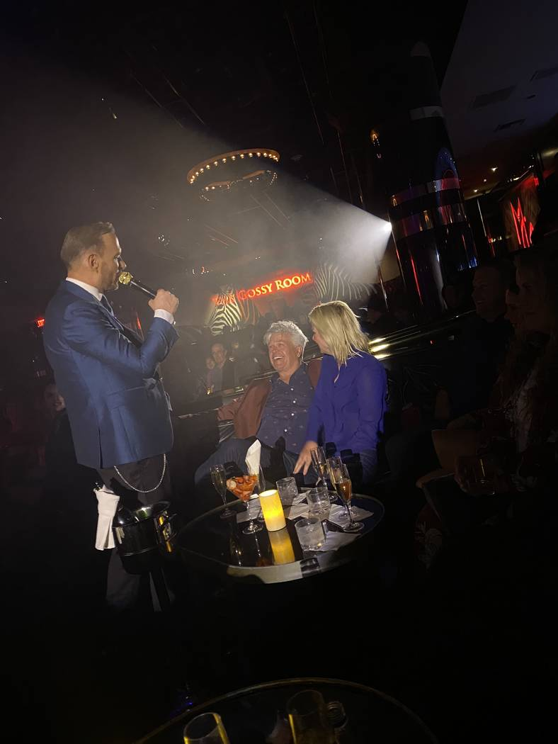 Mirage headliner Matt Goss is shown with comic Ron White at 1 Oak Nightclub at the Mirage on Su ...