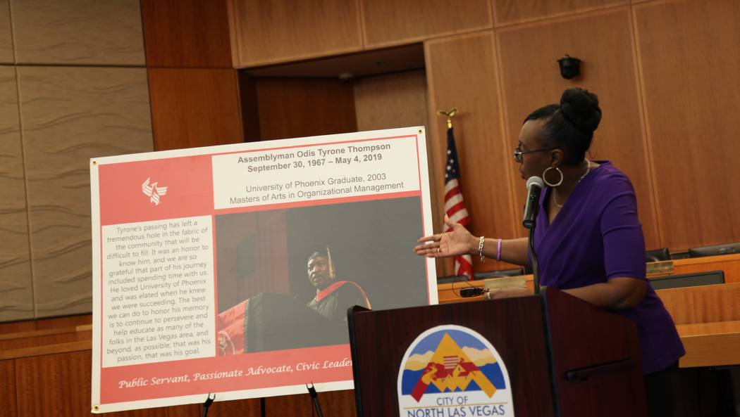 Sonya Thompson spoke at the announcement event of the scholarship made in honor of the late Nev ...